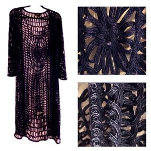 CARTISE  Navy Open Weave Ribbon Sweater Duster!!